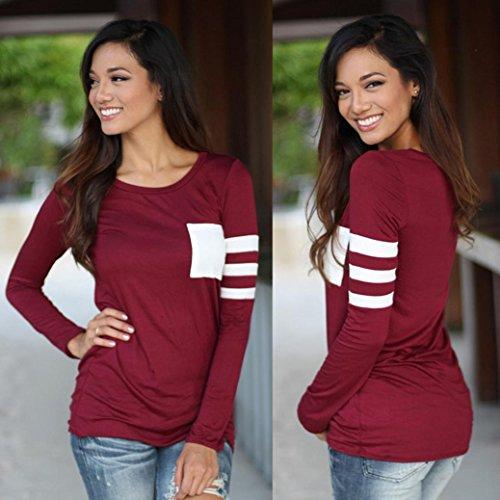 Womens Tops T-Shirt, OverDose Manches Longues Col Rond épissé Chemise Blouse Rouge
