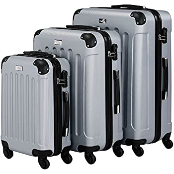 VonHaus 3pc Hard Shell ABS Trolley Suitcase Luggage Set with 4 Rotating Wheels & Combination Lock - Silver