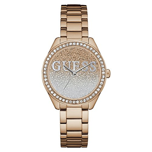 Guess Womens Glitter Girl Rose Gold Steel W0987L3