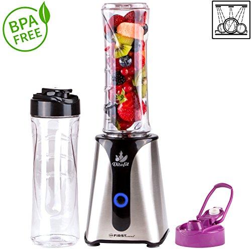 Smoothie Maker 350W | Mini Blender | Design in acciaio inossidabile | Interruttore ON/OFF | 2 bottiglie 600ml BPA free | 4 lame in acciaio inossidabile | 4 ventose | Frullatore da tavolo | Mixer