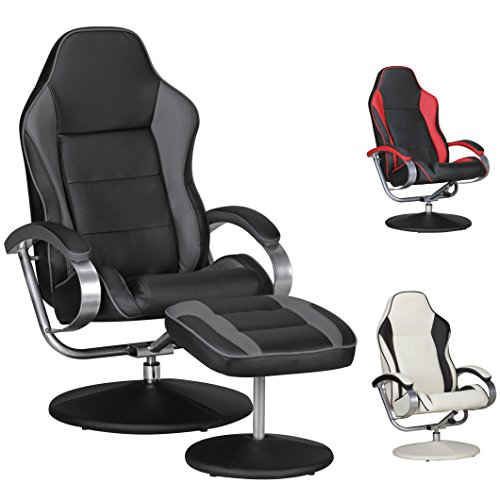 FineBuy FineBuy Fernsehsessel SPEEDY TV Design Relax-Sessel SPEEDY TV Design Relax-Sessel verstellbar Racing Modern Bezug Kunstleder schwarz / grau drehbar mit Hocker Racer X-XL 110 kg mit Armlehnen und Hocker Gaming Sessel ohne Motor -