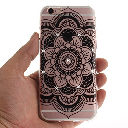 "Coque iPhone 6s, SsHhUu Ultra Mince [Crystal Diamonds] Flexible Caoutchouc Doux TPU Étui Bumper Silicone Gel Anti-Scratch Cover pour Apple iPhone 6 / 6s (4.7"") Mandala Noir Tournesol"