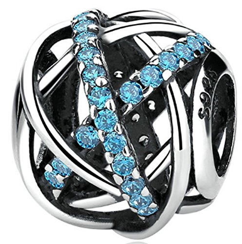 SaySure - 925 Sterling Silver Galaxy Charm Beads with Blue CZ