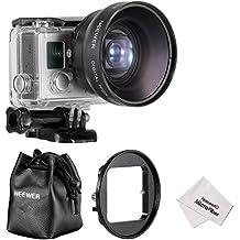 Neewer 52 mm Telephoto Lens - Objetivo para videocámara GoPro Hero (con adaptador y limpiador, 52 mm)