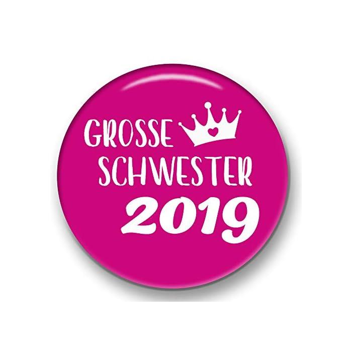 Polarkind grosser Button Pin Anstecker Große Schwester 2020 (59mm) pink Handmade Geschenk zur Geburt Taufe Babyparty