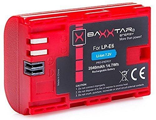 Batería Baxxtar Pro de calidad para Canon LP-E6con Infochip,sistema de batería inteligente,para Canon EOS 70D 60D 60Da 7D Mark II 6D Mark I II 5D Mark II III IV
