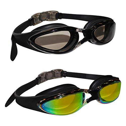 Bezzee 2er-Set Schwimmbrillen mit Verstellbaren Silikonbändern - Triathlon Brille - Schutzbrillen mit 2 Paar Ohrstöpseln - Schwimmbrille mit Antibeschlag und UV-Schutz für Männer, Frauen und Erwachsene - Taucherbrille, Sportbrille, Wasserbrille