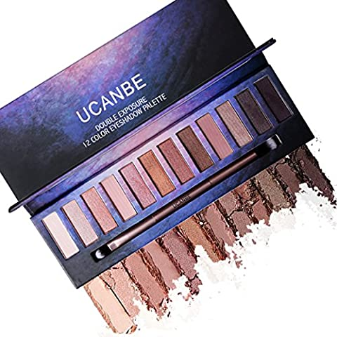 Professional Matte Shimmer Eye Shadow Palette – 12 Highly Pigmented Naked Neutral Natural Nude Shades with EyeShadow Blending Applicator Ucanbe (edition 3)