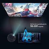 """Proyector, WiMiUS 5000 Lúmenes Proyector Full HD 1920x1080P Nativo Proyector Video Compatible 4K Pantalla 300 """" Ajuste Digital 70,000 Horas Proyector LED para Cine en Casa y Presentación Empresarial"""
