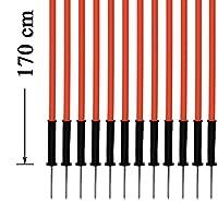 agility sport pour chiens - lot de 12 piquets de slalom, orange - 170 cm x Ø 25 mm avec des ressorts flexibles en métal - contient également un sac pratique