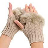 Women Winter Fingerless Gloves Warm Knitted Hand Wrist Faux Rabbit Fur/Villi Gloves for Ladies New Warmer Mitten