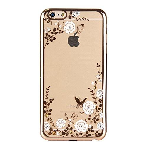 iPhone 7 Plus Hülle,iPhone 7 Plus Silikon Hülle Tasche Handyhülle,SainCat Flamingos Muster Ultra dünne Silikon Hülle Schutzhülle Durchsichtig Hadytasche Stoßfeste TPU Gel Case Bumper Weiche Crystal Ki Gold-Weiße Blume