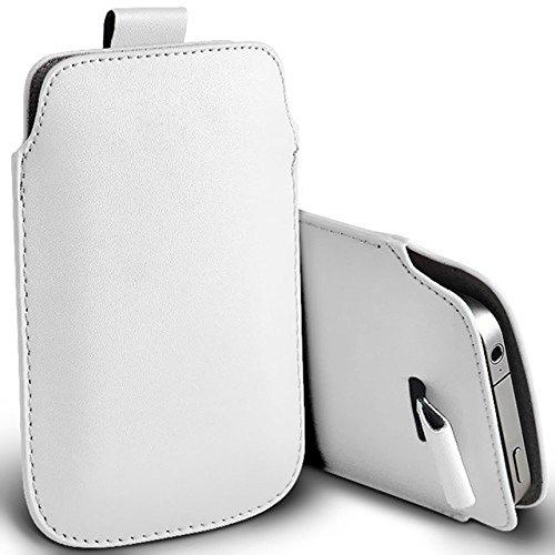 Digi Pig Weiß PU Leder Pull Tab Pouch Cover Case für Samsung Galaxy S5Mini (Alcatel Lg Htc Handy)