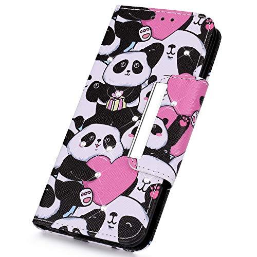 SainCat Kompatibel mit iPhone XR Hülle Leder Flip Case Glitzer Strass Schützhülle Stoßfest Handyhülle Glitzer Crystal Weicher TPU Bookstyle PU Ledertasche-Ich Liebe Panda Strass-panda