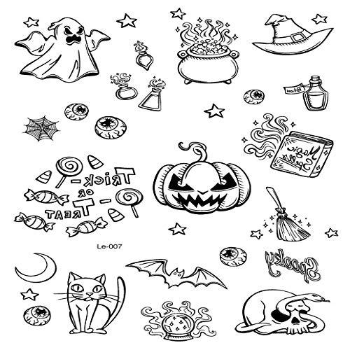 adgkitb Umweltfreundliche Fluoreszierende Tattoo Aufkleber Halloween Rave Party Tanz Atmosphäre Tattoo Aufkleber Le-007 21x15cm