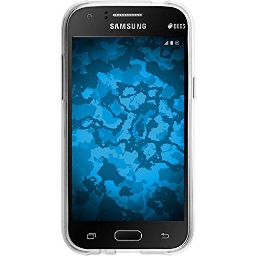 PhoneNatic Case für Samsung Galaxy J1 (2015 - J100) Hülle Silikon hellblau Iced Cover Galaxy J1 (2015 - J100) Tasche + 2 Schutzfolien Transparent