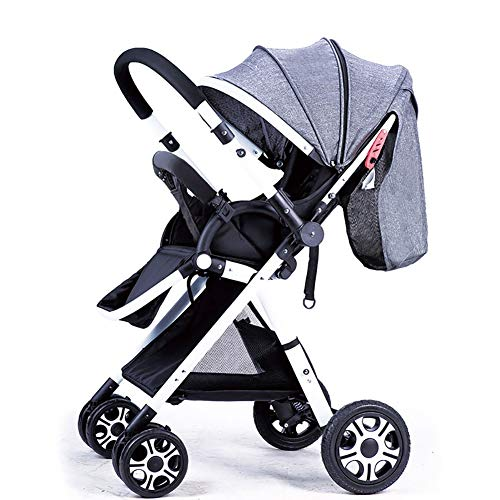 Sillas de paseo Mena UK High Landscape Baby Stroller Handle Reversible Infants Buggy se Puede sentar y tumbarse DownUltralight Portable Plegable Carro para niños White Frame (Color : Linen Gray)