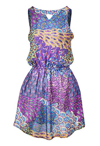 edruckt Rückenfrei Kleid Pfau Violett M (Sexy Pfau Outfit)
