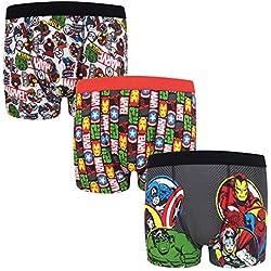 Marvel - Pack de 3 calzoncillos oficiales de estilo bóxer - Para niños - «Los vengadores», Hulk, Iron Man - Rojo - 7-8 años