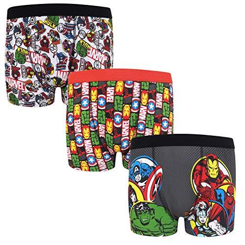 Marvel Avengers Assemble - Jungen Boxershorts mit Hulk- & Iron Man-Motiv - Offizielles Merchandise - Geschenk - 3 Paar - Rot - 7-8Jahre