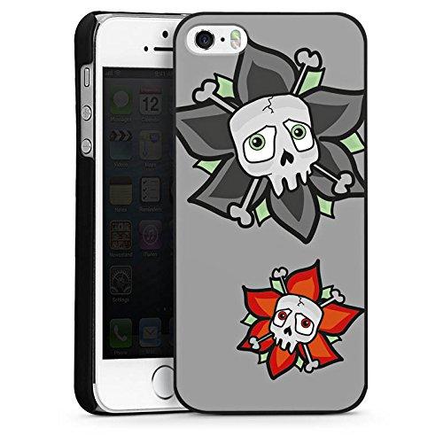 Apple iPhone 5s Housse Étui Protection Coque Fleurs Fleurs Tête de mort CasDur noir