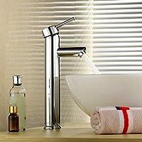 e389d06086a2 Juego Central sola manija baño fregadero recipiente de latón sólido del  grifo mezclador del lavabo Grifos, cromo acabado de la cubierta del montaje