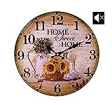 LB H&F Lilienburg Wanduhr Vintage Küchenuhr mit lautlosem Uhrwerk Uhr grün Braun Gelb Home - Kein Ticken