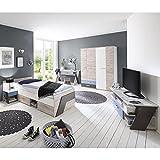 Jugendzimmer Komplett Set LEEDS-10 - in Sandeiche Nb. / weiß/Lava/Denim