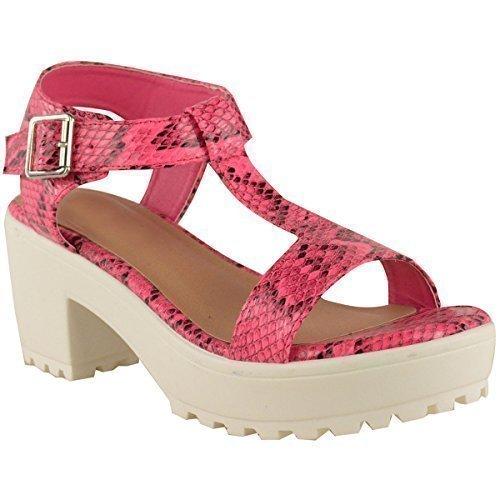 Sandali Estivi da Donna con Tacco Grosso e Plateau Cinturino a T alla Caviglia Neon Rosa Serpente Simil Pelle