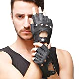 Nappaglo Herren Hirschleder Fingerlose Handschuhe Halbfinger Lederhandschuhe für fahren Motorrad Radfahren Ungefüttert Handschuhe (S (Umfang der Handfläche:20.6cm), Schwarz)