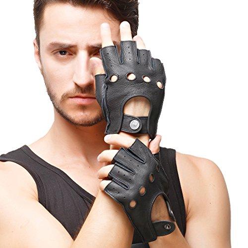 Nappaglo Herren Hirschleder Fingerlose Handschuhe Halbfinger Lederhandschuhe für fahren Motorrad Radfahren Ungefüttert Handschuhe (XXL (Umfang der Handfläche:23.8cm), Schwarz)