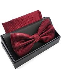 Massi Morino Pajarita con pañuelo en caja de regalo, pajarita en diferentes colores hecha de microfibra, moño de diseño ajustable con pañuelo a juego con el color (Burdeos)