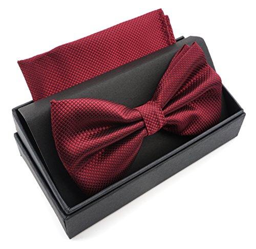Massi Morino ® Herrenfliegen Set mit Tuch in Weinrot Männer Anzug Schleife Krawattenfliege bowtie weinrote weinrotefliege wine-red dunkelrot granatrot bourdeaux