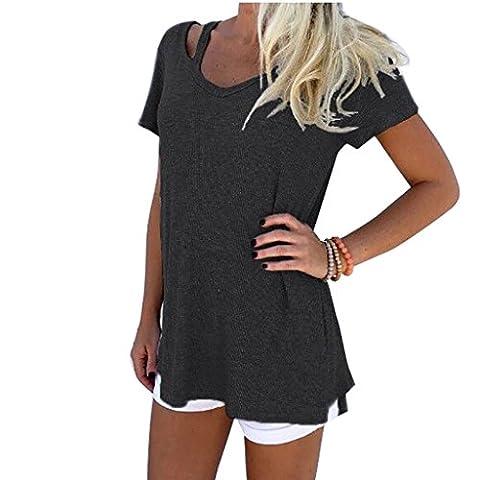 Yieune T-Shirt Damen Sommer V-Ausschnitt Kurzarm Tops Casual Oberteil Baumwolle