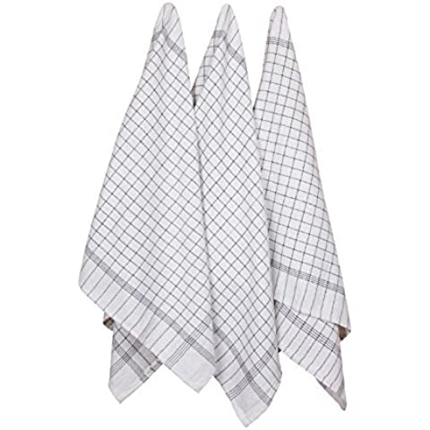 Tea Towels 3pk With Loop (100% Cotton Extra Large 100X50 cm -Longer Lasting, Super Absorbent In Black & White Check - Fast Drying & Low Lint - The Best Dish / Hand Towels for Your Kitchen by DAISYS DREAMS