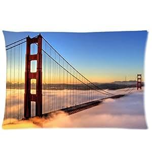 Golden Gate Bridge Pookeb Taie d'oreiller à fermeture Éclair Motif pour les Fans de lit taie d'oreiller personnalisée déco-canapé ou le lit taie d'oreiller :  20 x 30 (deux côtés) Excellente idée cadeau pour les amis ou la famille