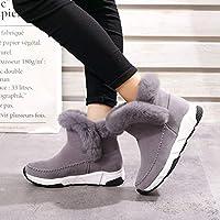Botas de Nieve para Otoño E Invierno, Europa Y Reino Unido Botas de Ante Británicas, Cómodos Zapatos de Plataforma Alta de Tacón Medio,gris,39