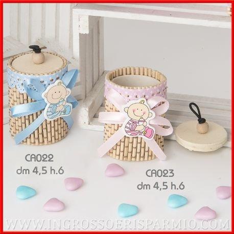Dekorative Schachteln aus Bambus, in Zylinderform mit Deckel, verziert mit Spitze, rosa Band und Applikation einer Babyfigur, für Geburt, Taufe, Kommunion, als Gastgeschenk kit 12 pz. confetti misti