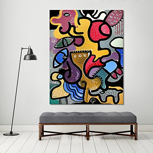 LIEFENGDAO Wall Pictures for Living Room Canvas Art Abstract Animal Painting Picassos Cat Woman Home Decor Landscape Painting,28X36
