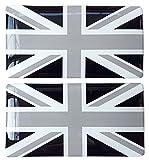 Union Jack British Flag Black & White Sticker Decal Badge 3d Resin Gel Domed 2 Pack 75mm x 40mm