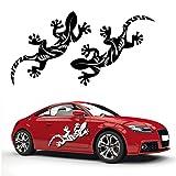 2er Set Gecko Autoaufkleber Aufkleber Geko Gekko Auto Sticker Hibiskus Tattoo Motiv | KB268