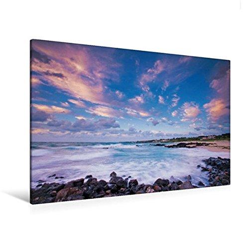 Preisvergleich Produktbild Premium Textil-Leinwand 120 cm x 80 cm quer, Romantischer Sonnenuntergang am idyllischen Gwakji Strand auf der Insel Jeju-do | Wandbild, Bild auf ... Jeju-do, Südkorea, Asien (CALVENDO Orte)