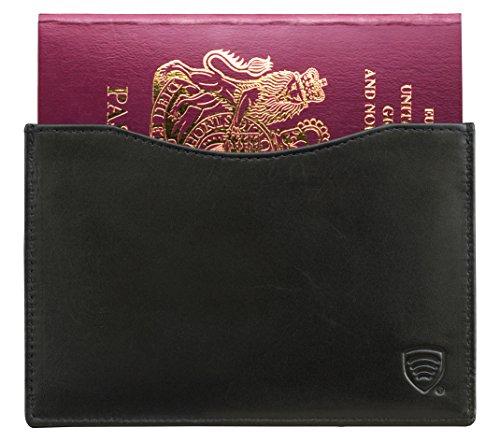 KORUMA Slim Leder Passabdeckung - Halter - Etui - Reisepassfach für Männer und Frauen RFID Blockierung TÜV geprüft, geprüft und zertifiziert (KUK-26NBL) (Schwarzes Reisepass Etui Leder Halter)