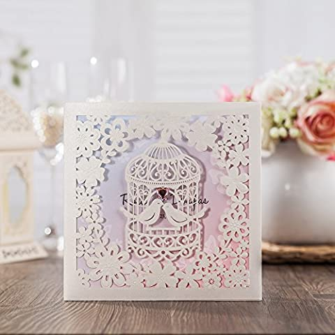 Wishmade 50x Laser Cut Love Bird Heart Wedding Invitations Cards With Matched RSVP and Thank You Card