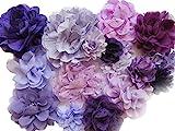 Yycraft chiffon fiore per cucire artigianali, baby Girls fascia per capelli fiocchi Craft, 2'-4.5' Lavender/Purple Mix, 2'-4.5'