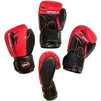 boxeo guantes Rex Cuero Rojo/Negro Kick Boxing Muay Thai UFC MMA Boxeo Guantes - 4oz niños 4-6 años