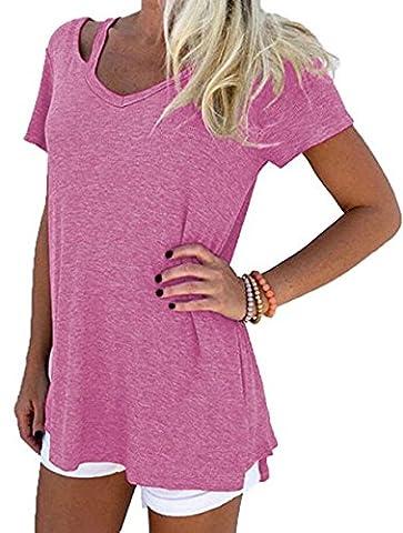 Hippolo T shirt Femme Manches Courte Col V Ete Tops Rétro Bretelles Décoratif Causal Coton Blouse Mode (XL,