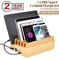 Avantree 100W 10 Puertos USB Base Estación de Carga múltiple QC3.0 & Tipo C, Organizador Base de Carga MacBook, Tablet, Smart Phones [2 años de garantía]