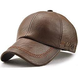 Roffatide Hombre Bordado Correas Suaves PU Gorra de Beisbol Sombrero Cuero Deportes al Aire Libre Otoño e Invierno Light Brown