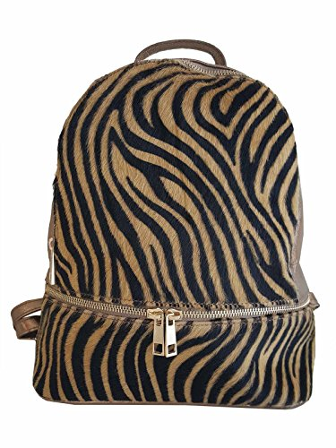 Sac à dos en cuir taille M, pour femme, made in Italy (tigre)